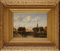 a dutch urban canal with figures and boats by pieter gerardus vertin