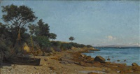 fischerboot an felsigem strand by adrien louis demont