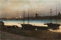 st. petersburg at night by nikolai nikanorovich dubovskoy