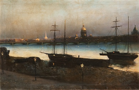 st petersburg at night by nikolai nikanorovich dubovskoy