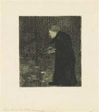 blinde frau im walde (klavier spielende frau) by paula modersohn-becker