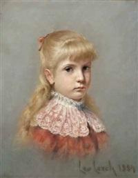 porträt eines mädchens mit weißem spitzenkragen und blauer schleife by leo lerch
