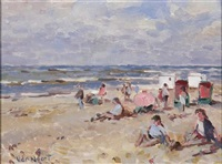 beachgoers by arie van noort