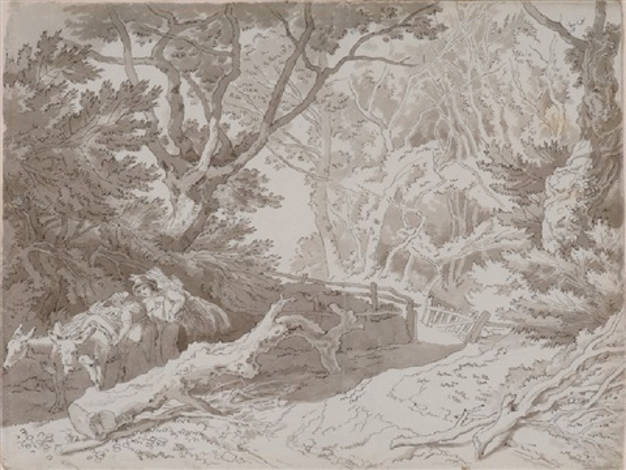 fordland devon faggot gatherers on a wooded country lane by john white abbott