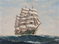an american clipper ship in high seas with green hull by denzil smith
