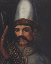portrait of tamerlane holding a bow and arrow by cristofano di papi dell' altissimo