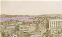 sydney harbour from kyle house, sydney by sydney george ure smith