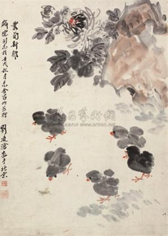 丛菊新雏 chicks and chrysanthemum by liu lingcang