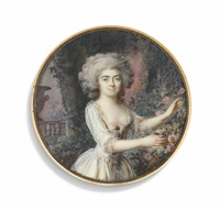 a young lady in a floral landscape with pink roses and an urn, in white dress, powdered curling hair by lié-louis périn-salbreux