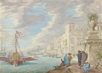 view of an italianate harbor with elegant barges setting out from port by johann wilhelm baur
