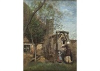 le puits by jean-baptiste-camille corot