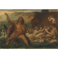 neptune riding a dolphin with nereids, tritons and cherubs riding the swell by arnold böcklin the elder