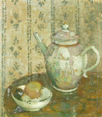 an oriental tea pot and a bowl of fruit by ethel sands