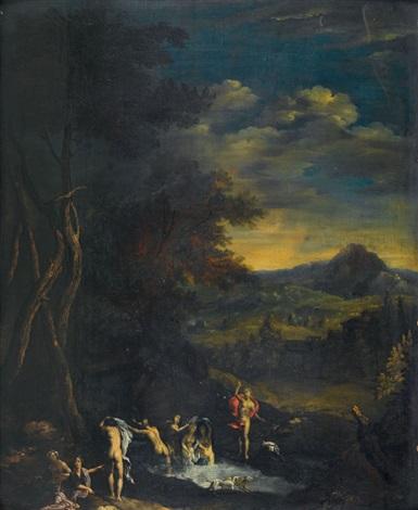 die badende diana von aktaion überrascht by nicolas poussin