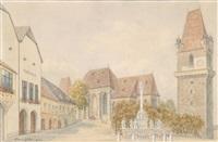 der marktplatz in perchtoldsdorf by hans götzinger