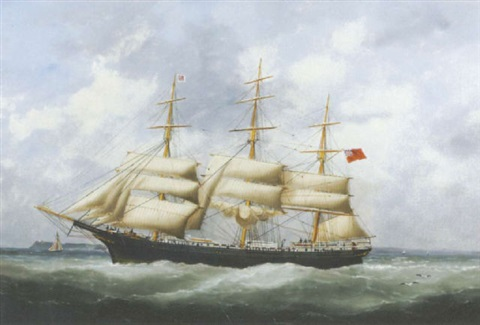 "the ""austriana"" under reduced sail by edouard (the younger) adam"