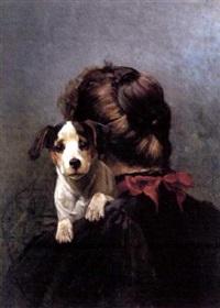 kvinne med hund by karl kristian uchermann