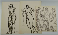 nudes and figure study (3 works) by joseph delaney