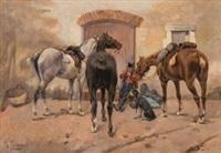el descanso de los caballos by josep (josé) cusachs y cusachs