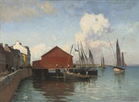 hanging nets at a french quay by gustave edouard le senechal de kerdreoret