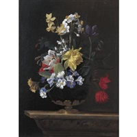 a still life of flowers in a ormulu mounted lapis lazuli vase on a stone ledge by jean-michel picart