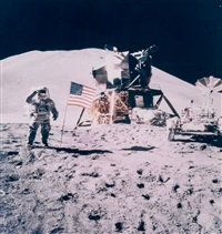 james irwin salutes the american flag, apollo 15, august 1971 by david scott