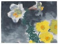weiße lilien und dahlien by emil nolde