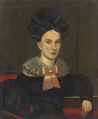 portrait of a young lady with extravagant coiffure by john sherburne blunt