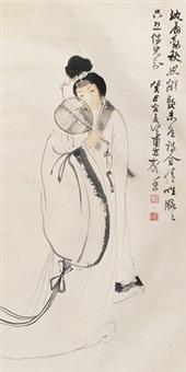 仕女 立轴 设色纸本 by xiao lisheng