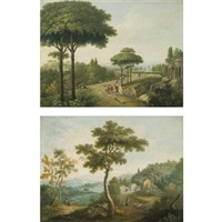 italianate landscapes with travellers on roads (pair) by carlo labruzzi