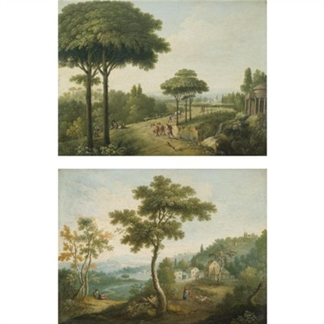 italianate landscapes with travellers on roads pair by carlo labruzzi
