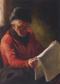 a fisherman from volendam reading the paper by adrianus bleys