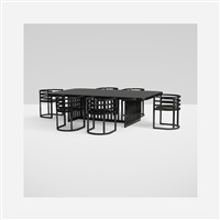 dining table and six chairs by richard meier
