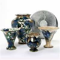 four vases and one dish by kähler pottery (co.)