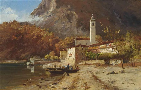 coming ashore ferrolo lake maggiore by maximilian von fichard