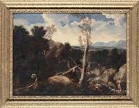 paesaggio con figure e bagnanti by maestro della betulla
