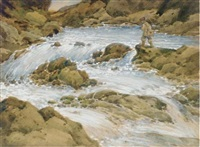 fishing in a pool off the rapids by joseph langsdale pickering