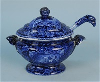 covered sauce tureen and ladle with eagle finial by staffordshire