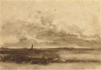 un paysage avec une tour dans le lointain by abraham furnerius