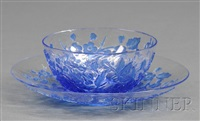 bowl (+ saucer; pair) by thomas webb and sons (co.)