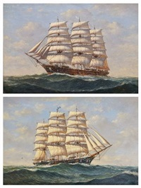 a three masted clipper in high seas (pair) by denzil smith