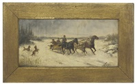 hunters on a troika (+ racing through the snow; pair) by jan wolski