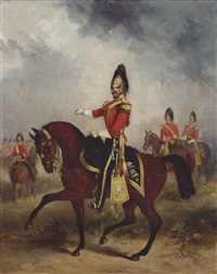 equestrian portrait of captain thomas fraser grove (1823-1897), captain in the 6th dragoons by henry martens