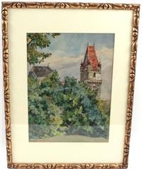 der perchtoldsdorfer wehrturm hinter büschen by desiderius fangh