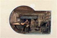 campagne de france, 1814 napoléon devant l'âtre by george bertin scott
