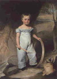 portrait of a young boy, full-length, holding a hoop in a landscape by william henry florio hutchinson