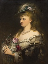 portrait of a lady with flowers by franz veith