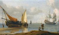 küstenlandschaft mit segelschiffen und staffage by aernout (johann arnold) smit