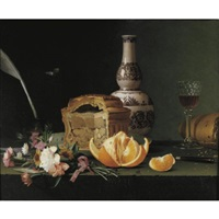 still life with a pie, orange and flowers on a ledge by pierre etienne remillieux