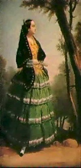 a spanish lady with a fan by antonio cabral bejarano